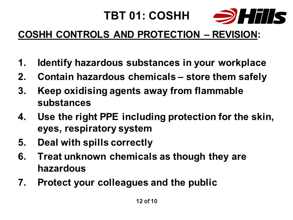 TBT 01: COSHH COSHH CONTROLS AND PROTECTION – REVISION: