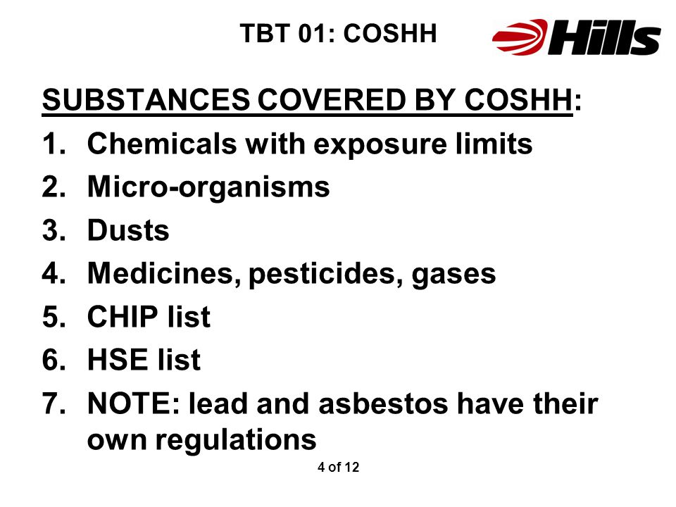 Control Of Substances Hazardous to Health: - ppt video online download