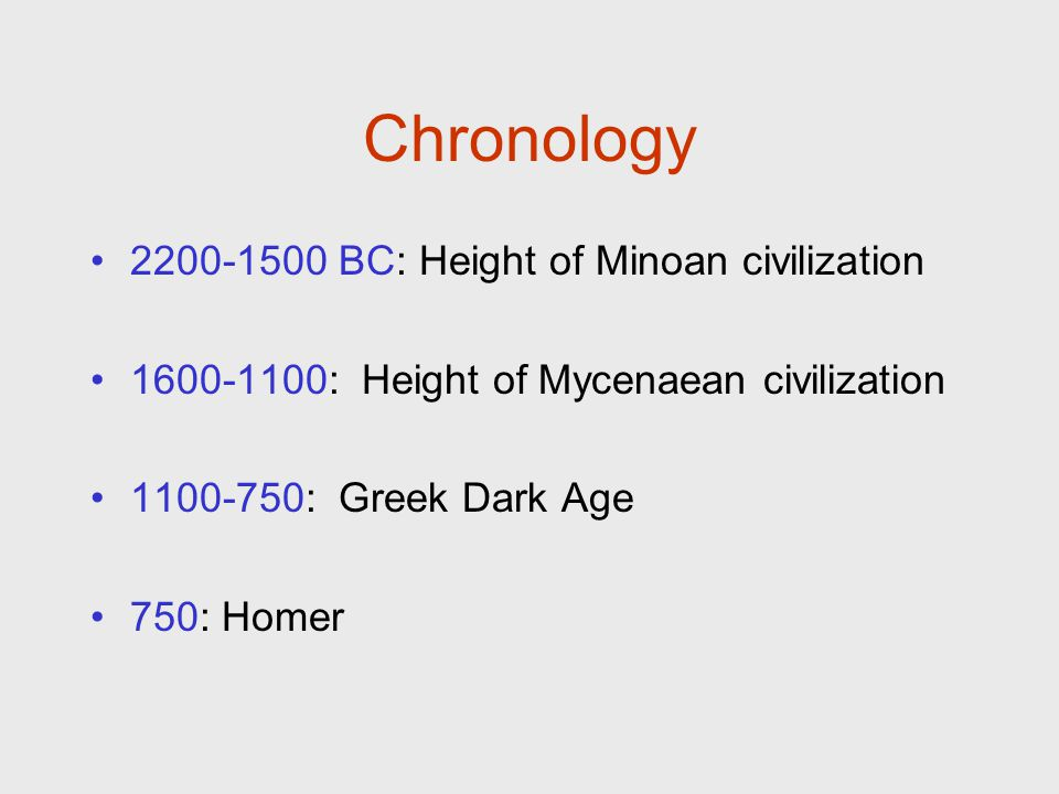 Chronology 2200-1500 BC: Height of Minoan civilization