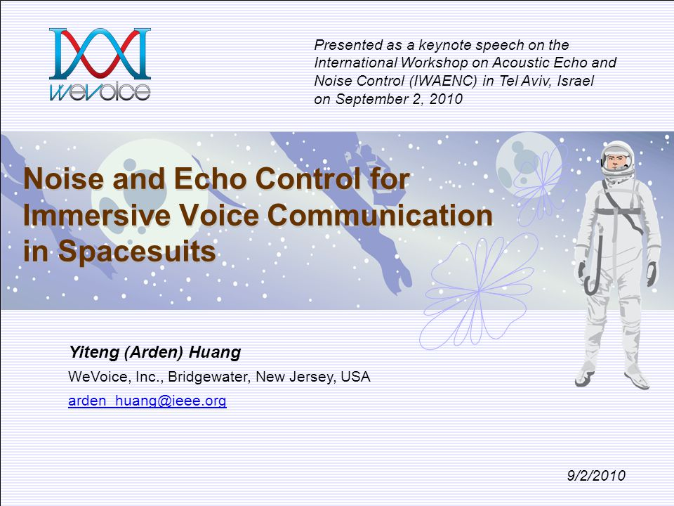 Noise and Echo Control for Immersive Voice Communication in Spacesuits