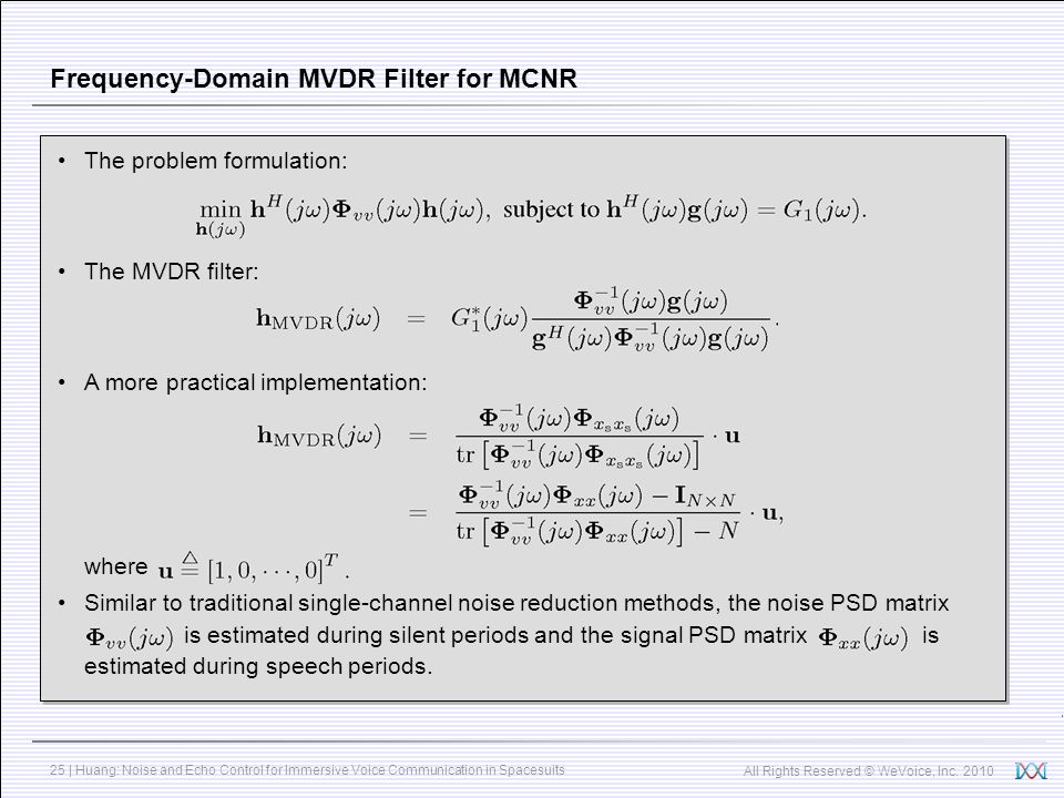 Frequency-Domain MVDR Filter for MCNR