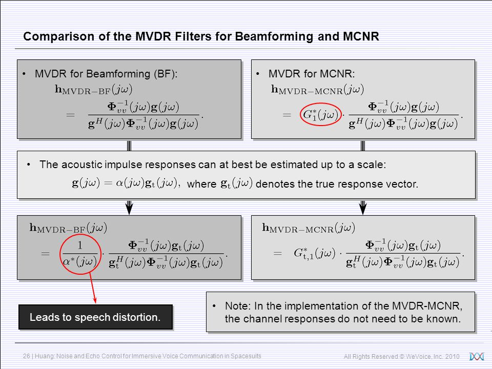 Comparison of the MVDR Filters for Beamforming and MCNR