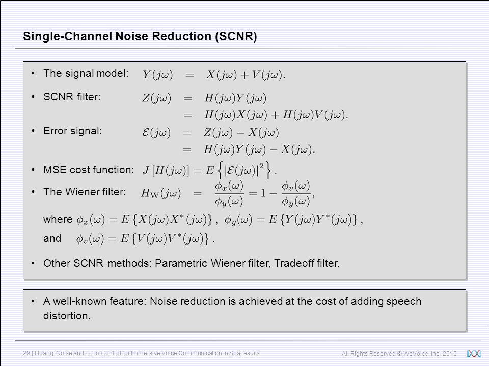 Single-Channel Noise Reduction (SCNR)
