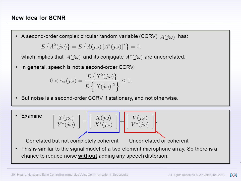 New Idea for SCNR A second-order complex circular random variable (CCRV) has: