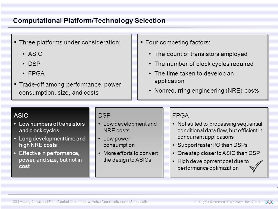 Computational Platform/Technology Selection