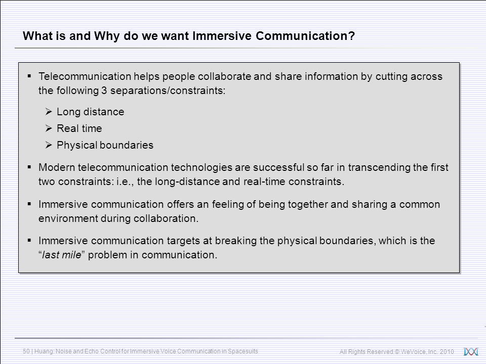 What is and Why do we want Immersive Communication