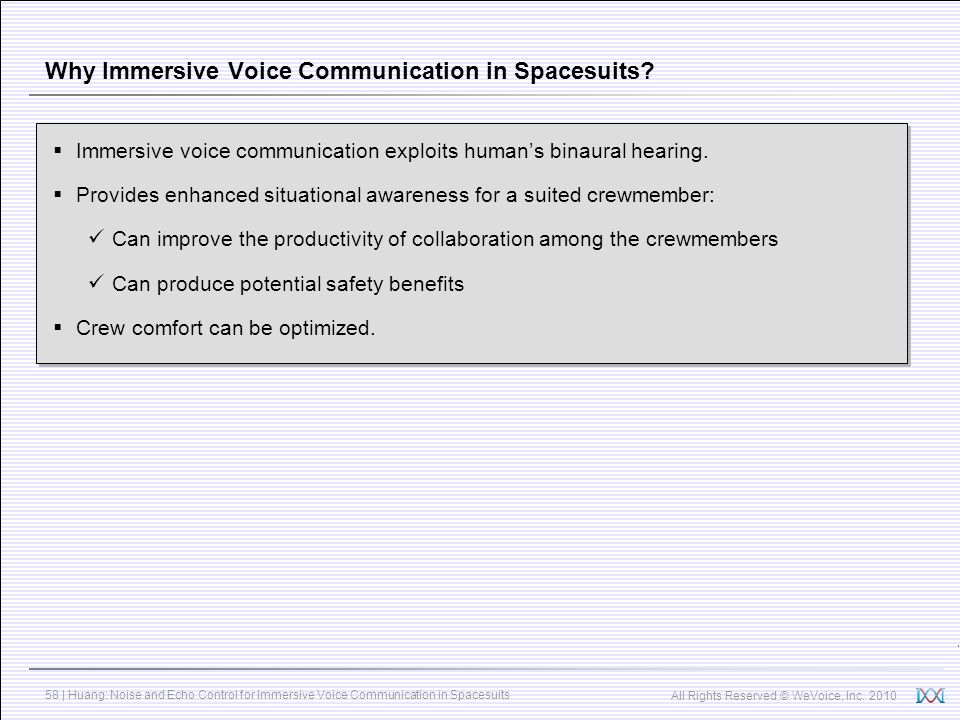Why Immersive Voice Communication in Spacesuits