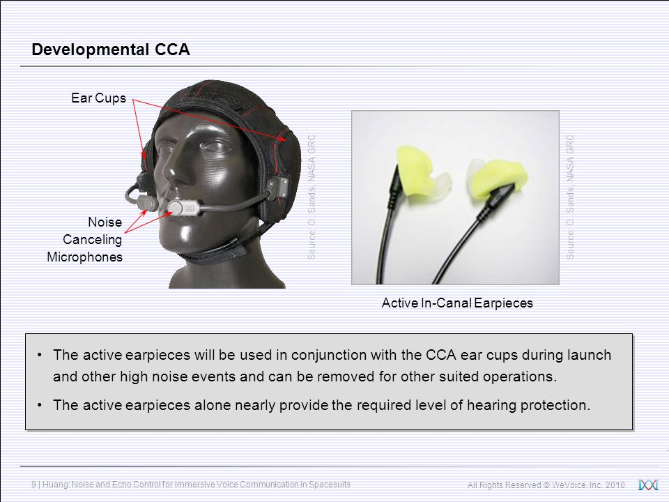 Developmental CCA Ear Cups. Source: O. Sands, NASA GRC. Source: O. Sands, NASA GRC. Noise Canceling Microphones.