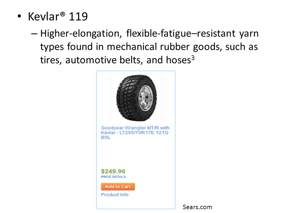 Kevlar® 119 Higher-elongation, flexible-fatigue–resistant yarn types found in mechanical rubber goods, such as tires, automotive belts, and hoses3.