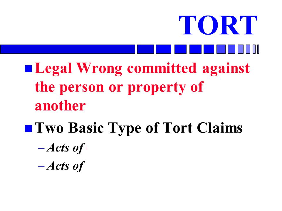 TORT Legal Wrong committed against the person or property of another