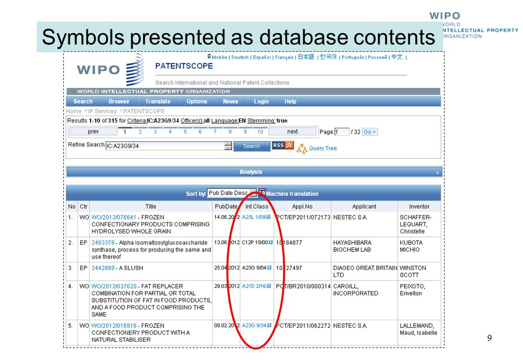 Symbols presented as database contents