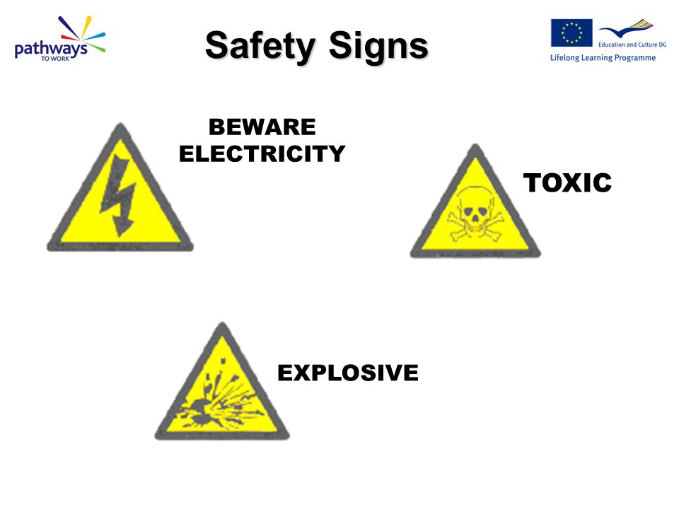 Safety Signs BEWARE ELECTRICITY TOXIC EXPLOSIVE