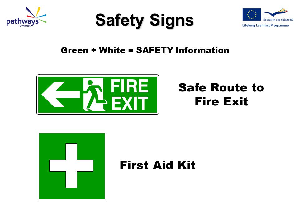 Safety Signs Safe Route to Fire Exit First Aid Kit