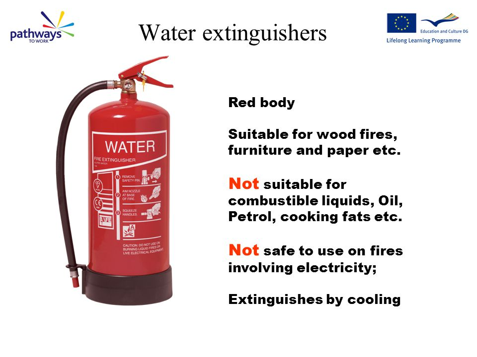 Water extinguishers Red body. Suitable for wood fires, furniture and paper etc.