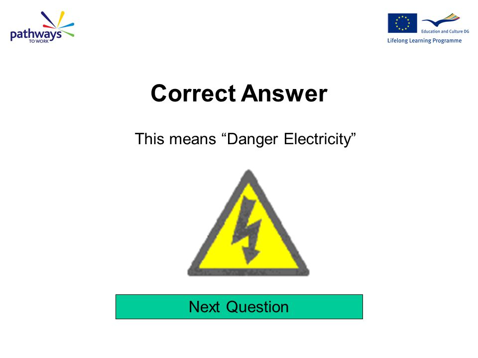Correct Answer This means Danger Electricity Next Question