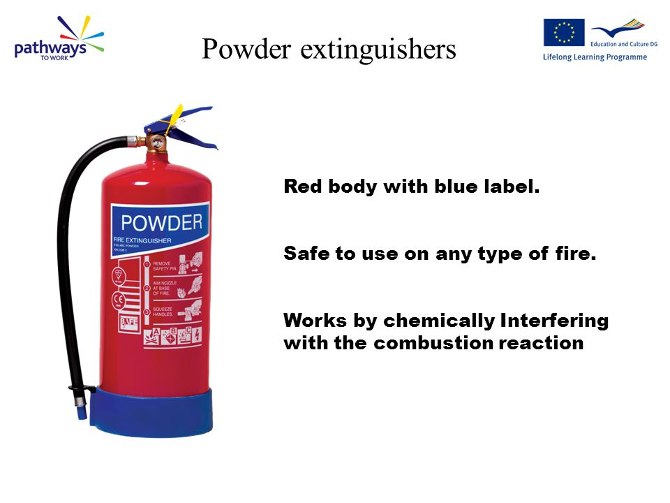 Powder extinguishers Red body with blue label.