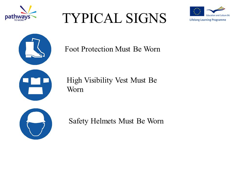 TYPICAL SIGNS Foot Protection Must Be Worn
