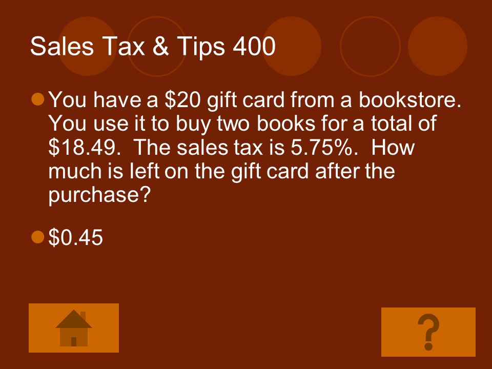 Sales Tax & Tips 400