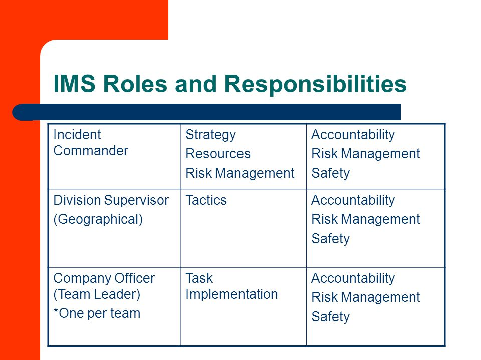 IMS Roles and Responsibilities