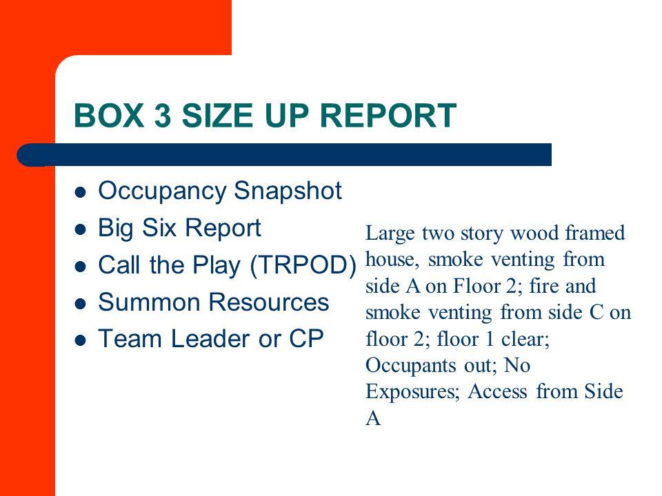 BOX 3 SIZE UP REPORT Occupancy Snapshot Big Six Report