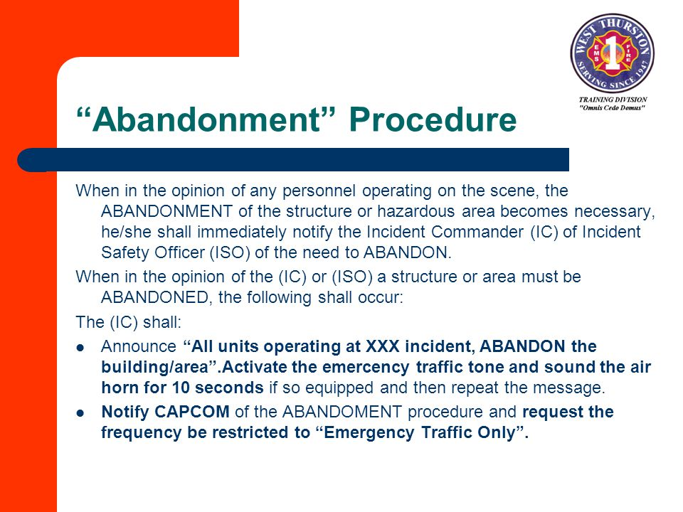 Abandonment Procedure
