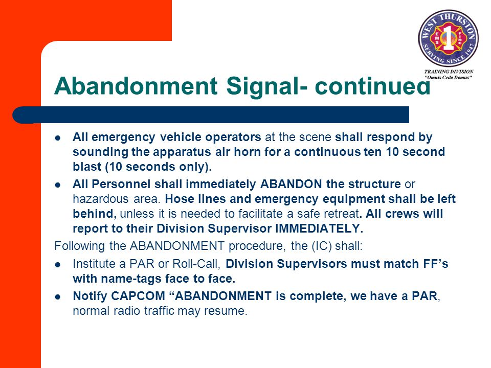 Abandonment Signal- continued