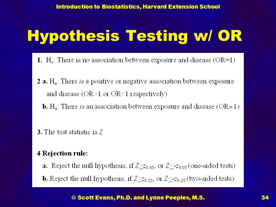 Hypothesis Testing w/ OR