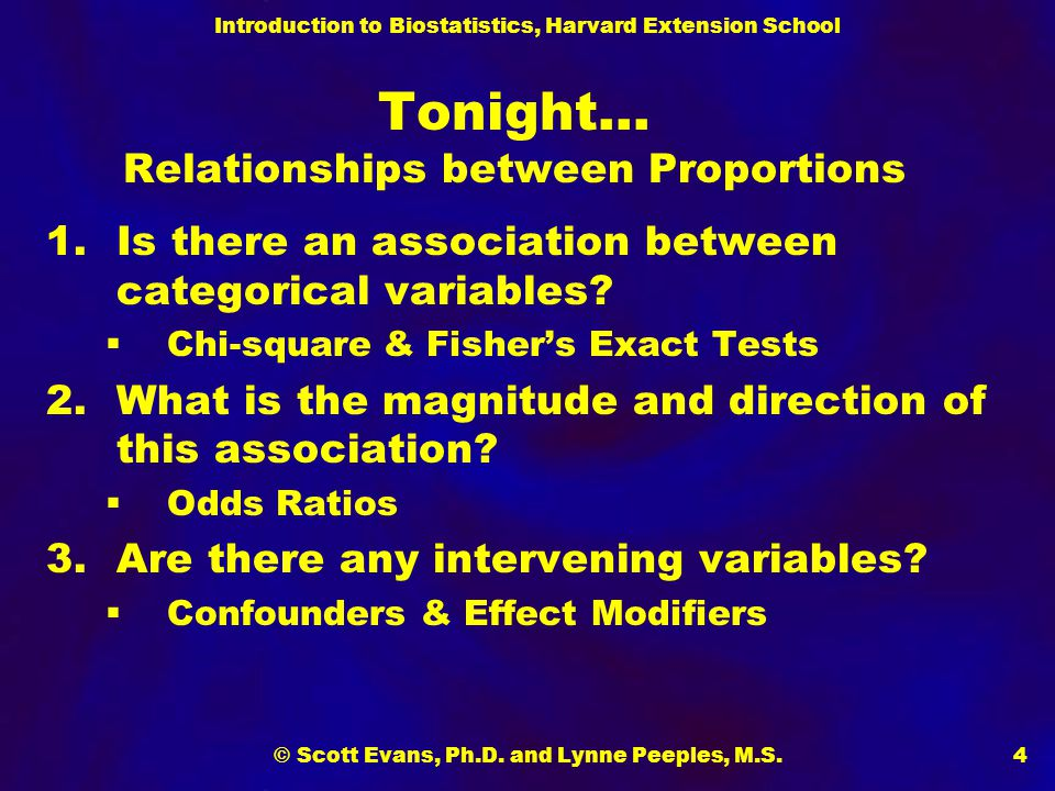 Tonight… Relationships between Proportions