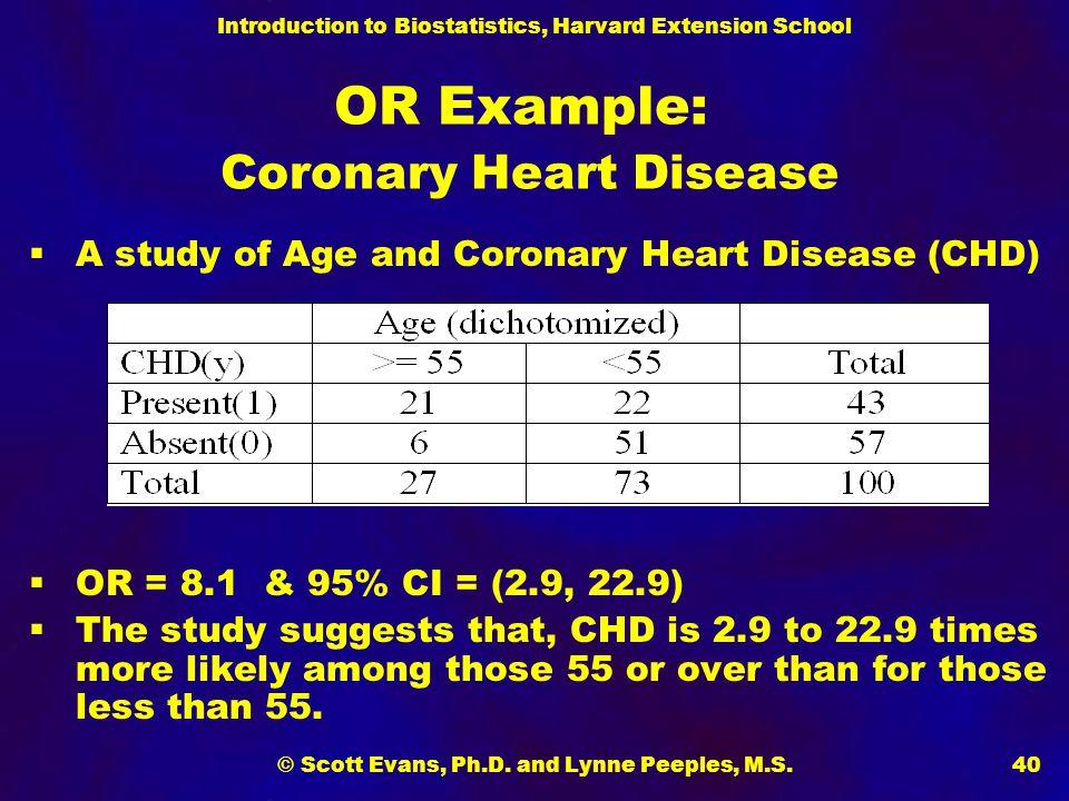 OR Example: Coronary Heart Disease