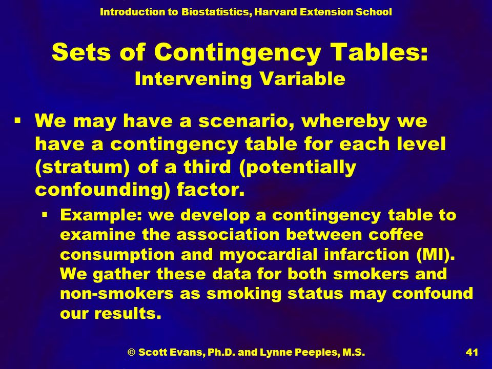 Sets of Contingency Tables: Intervening Variable