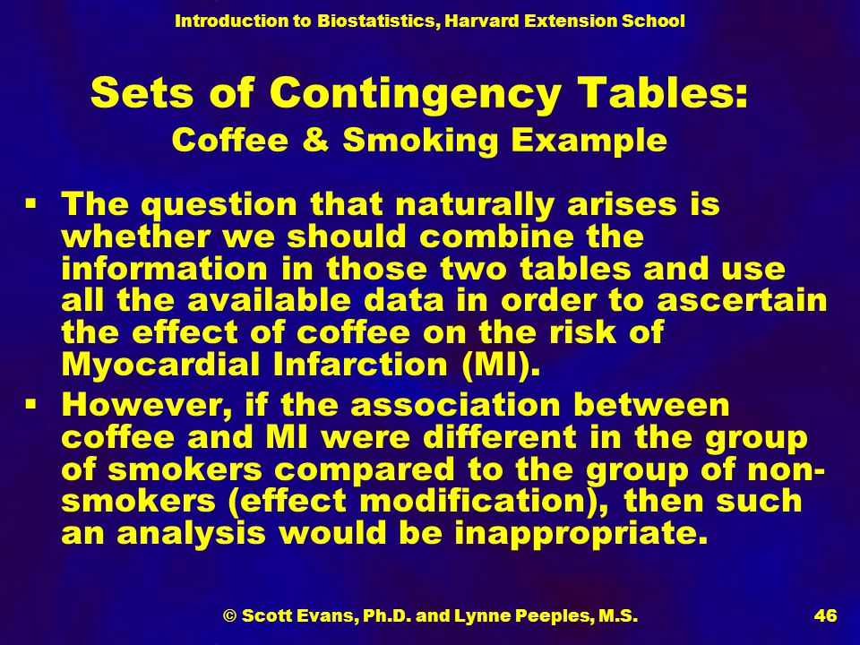 Sets of Contingency Tables: Coffee & Smoking Example