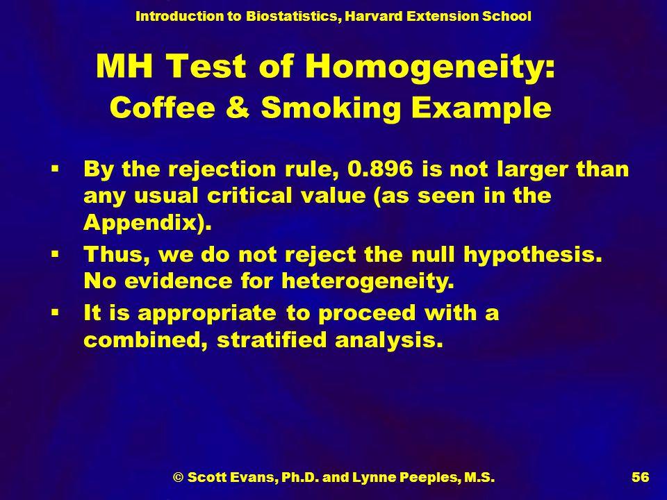 MH Test of Homogeneity: Coffee & Smoking Example