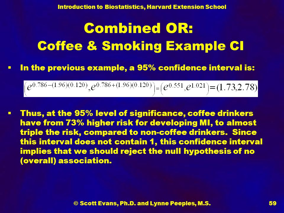 Combined OR: Coffee & Smoking Example CI