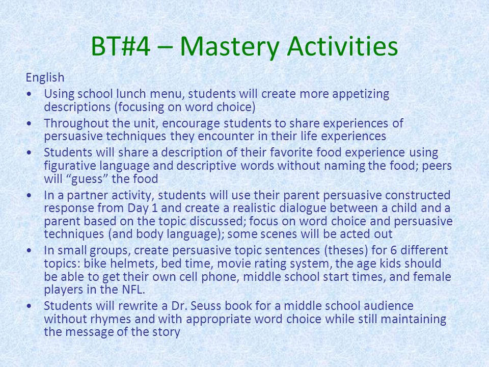 BT#4 – Mastery Activities