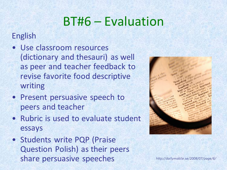 BT#6 – Evaluation English