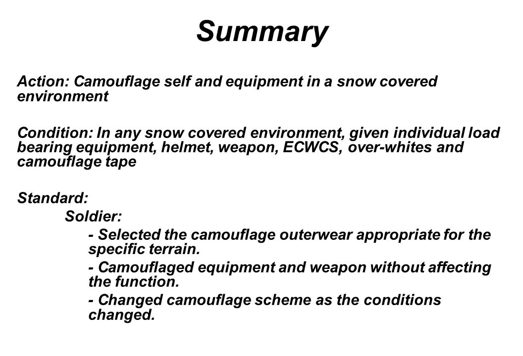 Summary Action: Camouflage self and equipment in a snow covered environment.