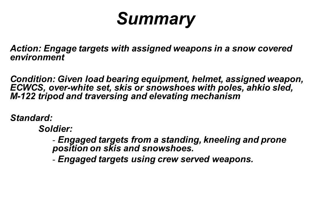 Summary Action: Engage targets with assigned weapons in a snow covered environment.