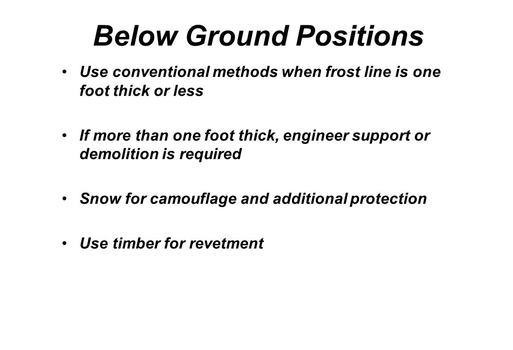 Below Ground Positions