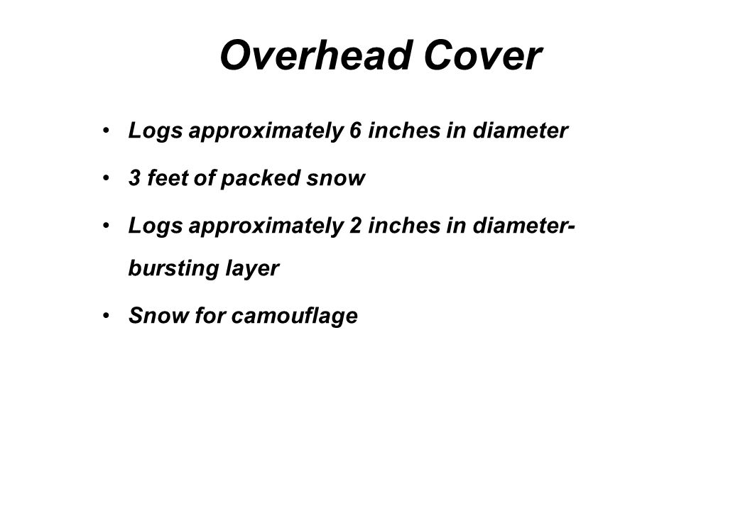 Overhead Cover Logs approximately 6 inches in diameter