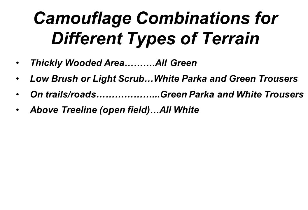 Camouflage Combinations for Different Types of Terrain