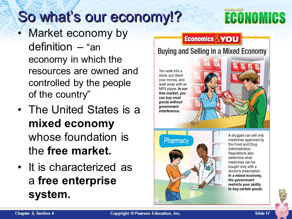 So what's our economy! Market economy by definition – an economy in which the resources are owned and controlled by the people of the country