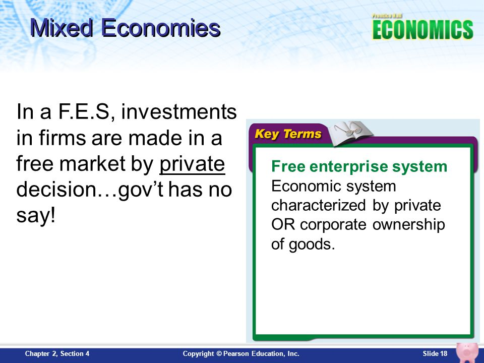 Mixed Economies In a F.E.S, investments in firms are made in a free market by private decision…gov't has no say!