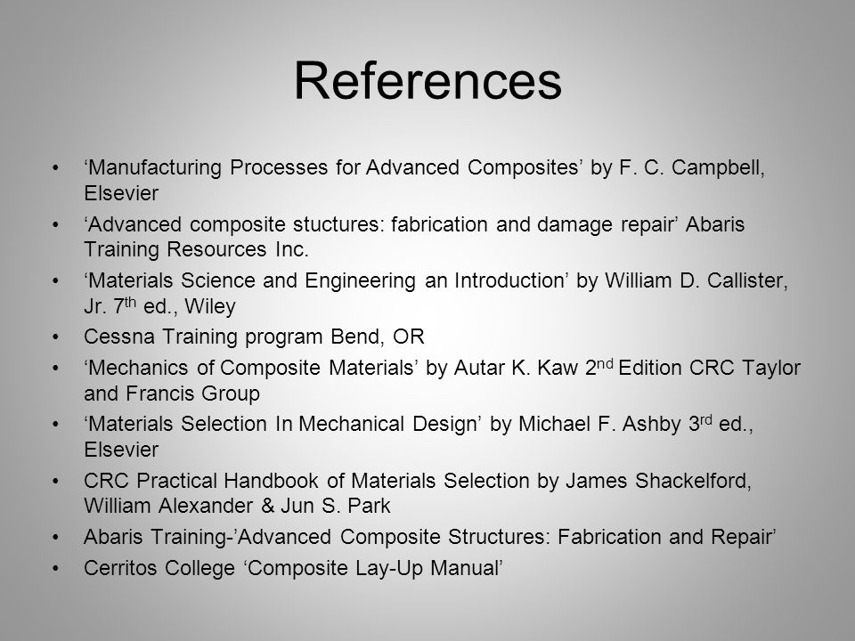 References 'Manufacturing Processes for Advanced Composites' by F. C. Campbell, Elsevier.