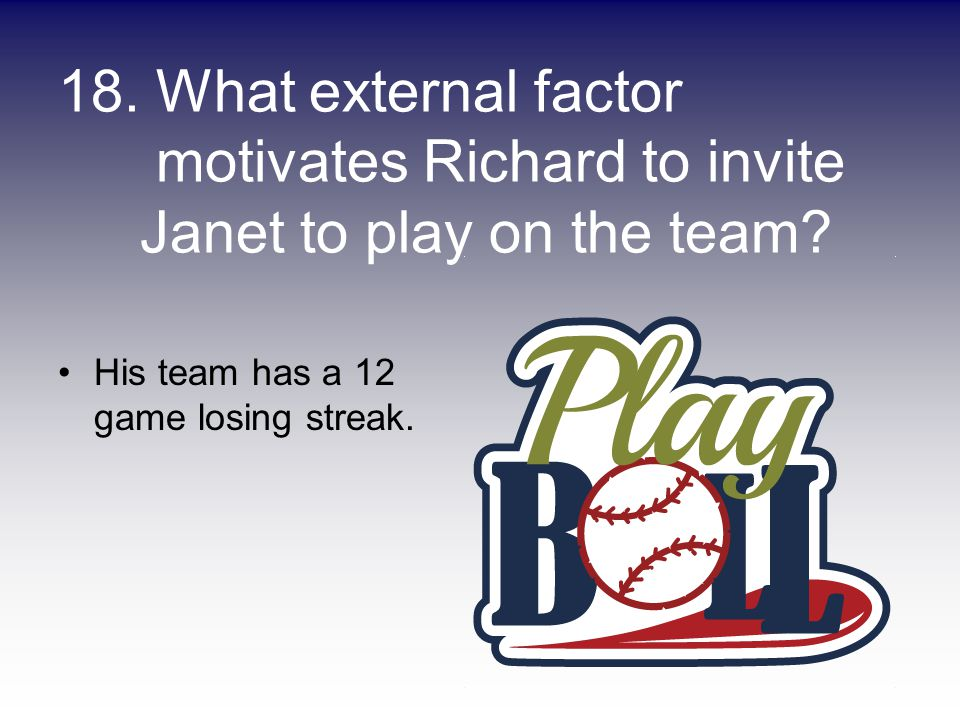 18. What external factor motivates Richard to invite Janet to play on the team