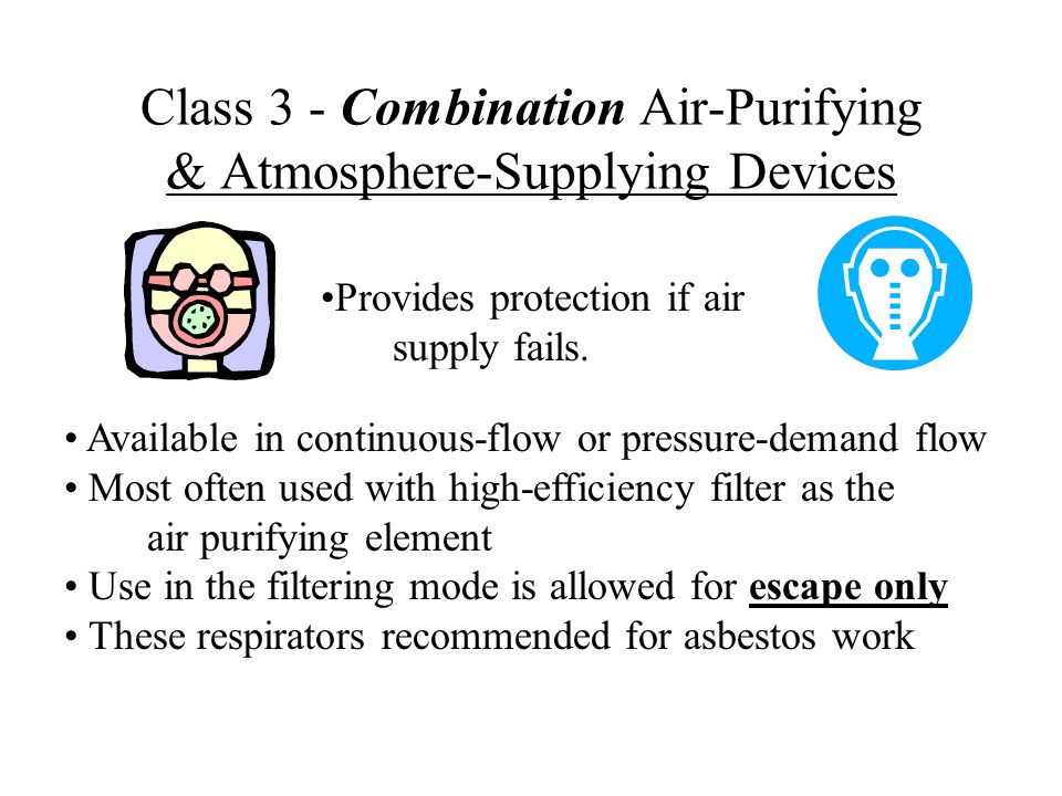 Class 3 - Combination Air-Purifying & Atmosphere-Supplying Devices