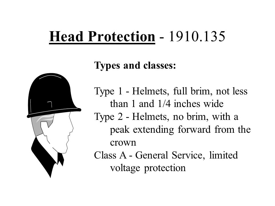 Head Protection - 1910.135 Types and classes:
