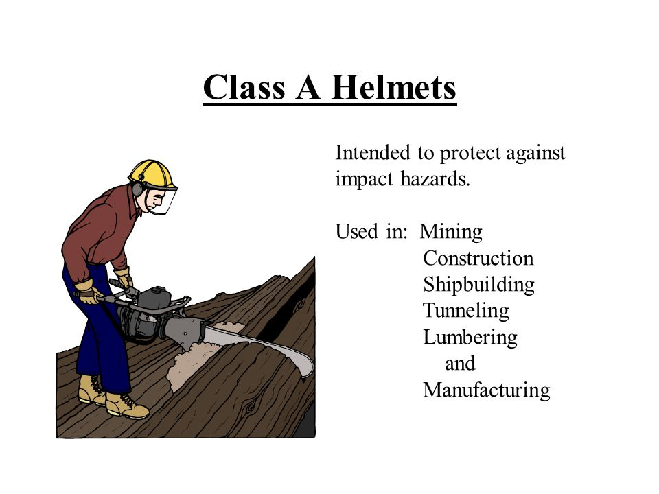 Class A Helmets Intended to protect against impact hazards.