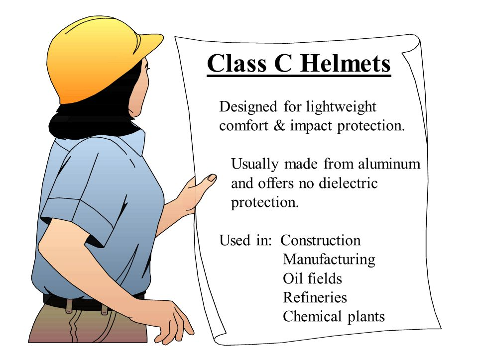 Class C Helmets Designed for lightweight comfort & impact protection.