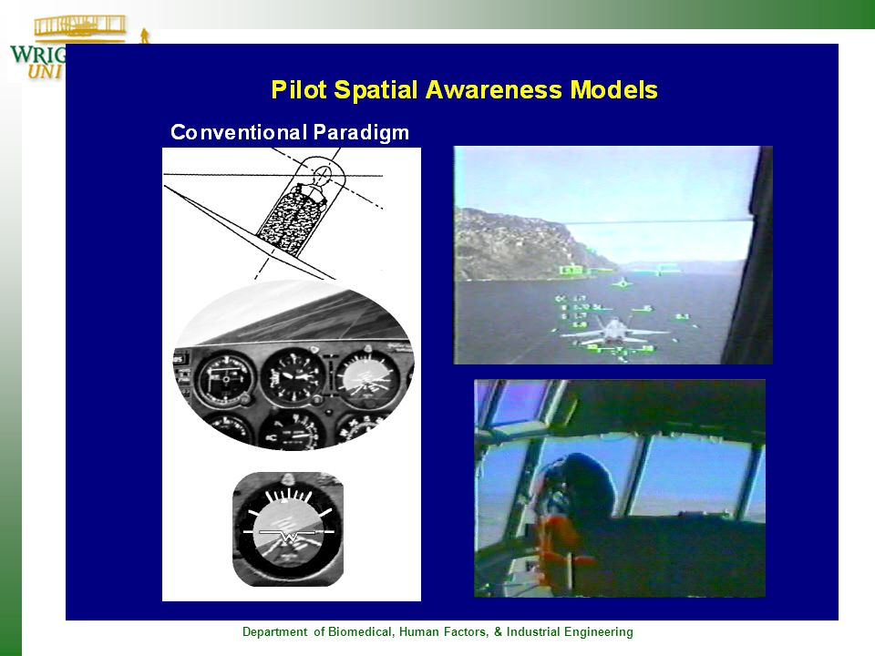 To understand what may have happened to JFK, lets look at pilot spatial awareness models. The attitude indicator is the display you see at the bottom of the picture on the left. It is the display that is used to kept the pilot oriented with respect to the word. Is is composed of a pictorial representation of the ground and the sky. There is an aircraft symbol in the middle. This was developed back in the 1930's under the idea that the attitude indicator provides the pilot with a pictorial replica of what he sees when looking out of the cockpit In this display, the aircraft is fixed and the horizion moves as the plane banks. If the pilot keeps his head aligned with the aircraft, then he will see the representation in the middle of the figure, which you notice matches the picture on the attitude indicator. Here is a video which illustrates this concept. It is a Navy hornet flying and banking. From this perspective the idea is that the plane stays fixed and the horizon moves. One problem that was noted with the design of this display early on is that the movement of the control is not compatible with the movement of the display. In other words when you move the stick to the right to put the plane in a right bank, the movement on the display is to the left. But it was felt that since it was pictorially accurate, that over rode the disadvantage of display control incompatability.