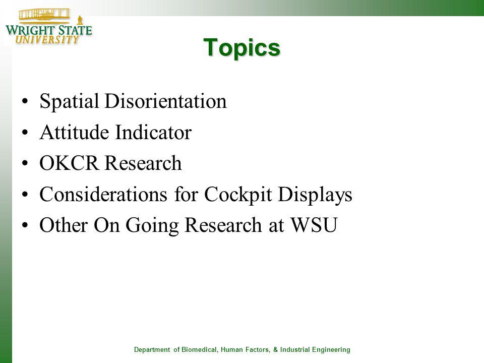 Topics Spatial Disorientation Attitude Indicator OKCR Research